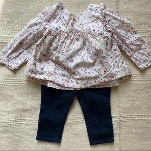 Baby Gap floral ruffle blouse top and skinny jeans